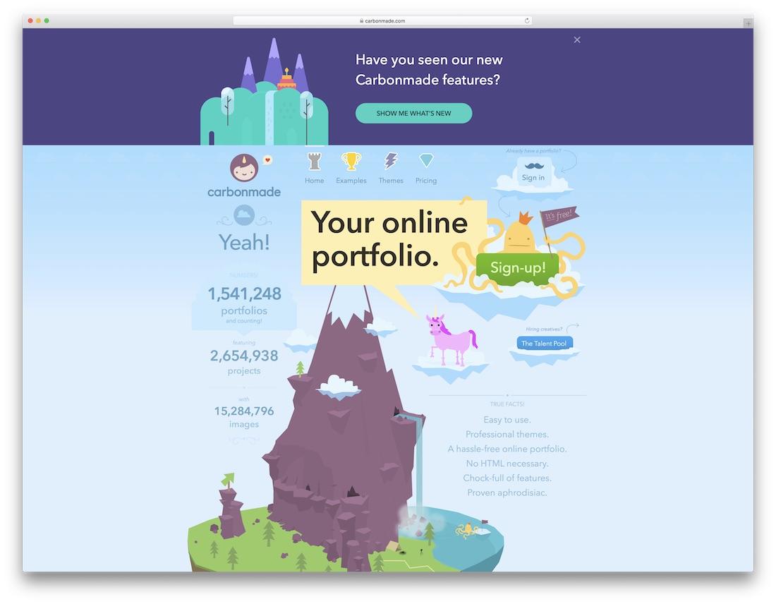 carbonmade best website builder for artists
