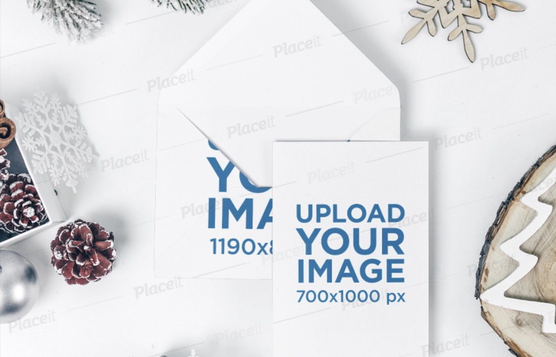 card mockup featuring an envelope and holiday decorations
