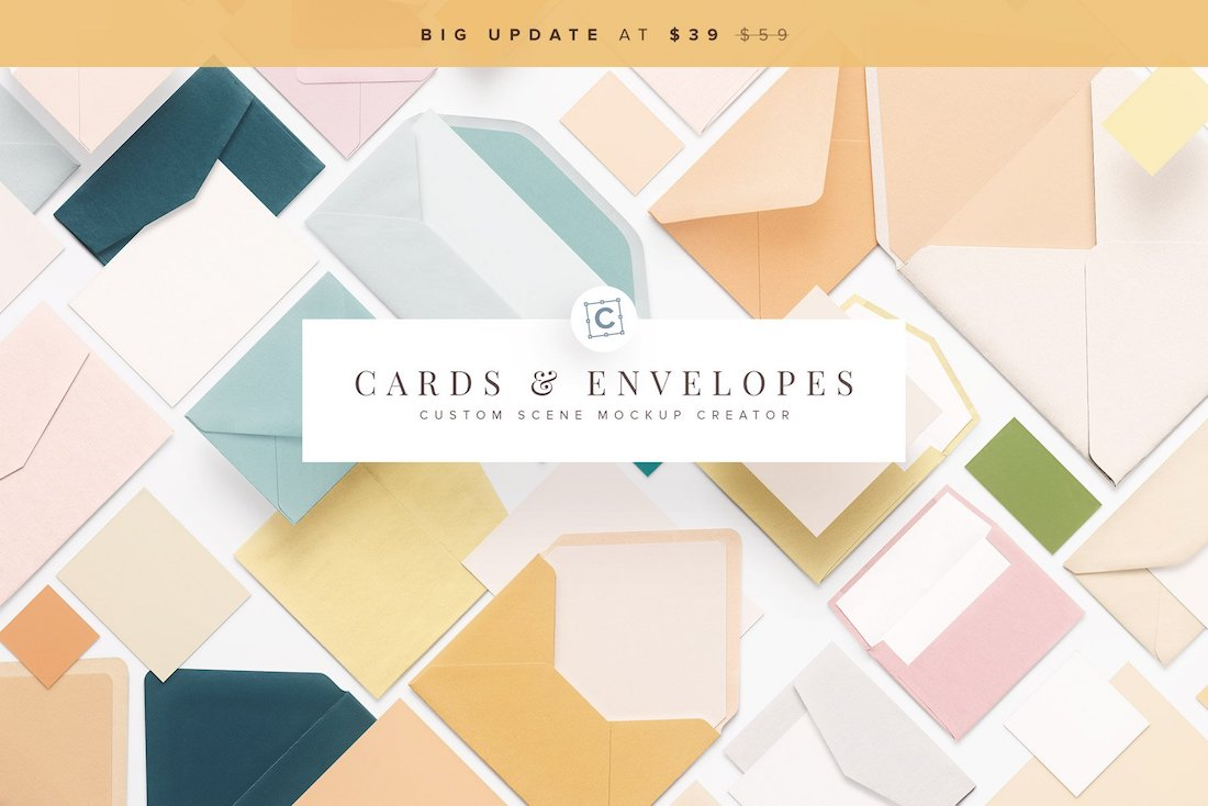 cards and envelopes mockup scene