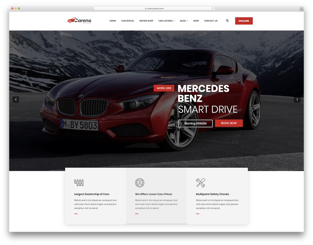 carena car rental wordpress theme