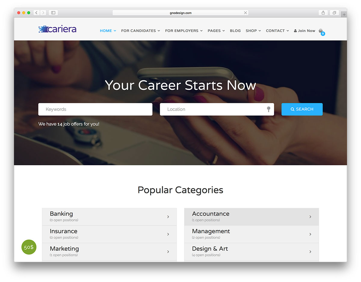 20 best job board themes and plugins for wordpress 2018 colorlib cariera is the expert on job boards stats and listings try it out with 2 homepages and a one click demo import cariera is built with tons of premium yelopaper Gallery