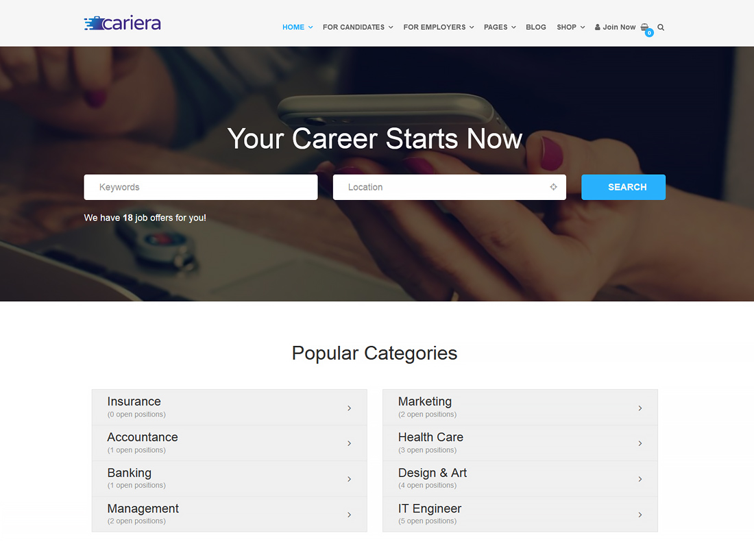 Cariera - Job Board WordPress Theme