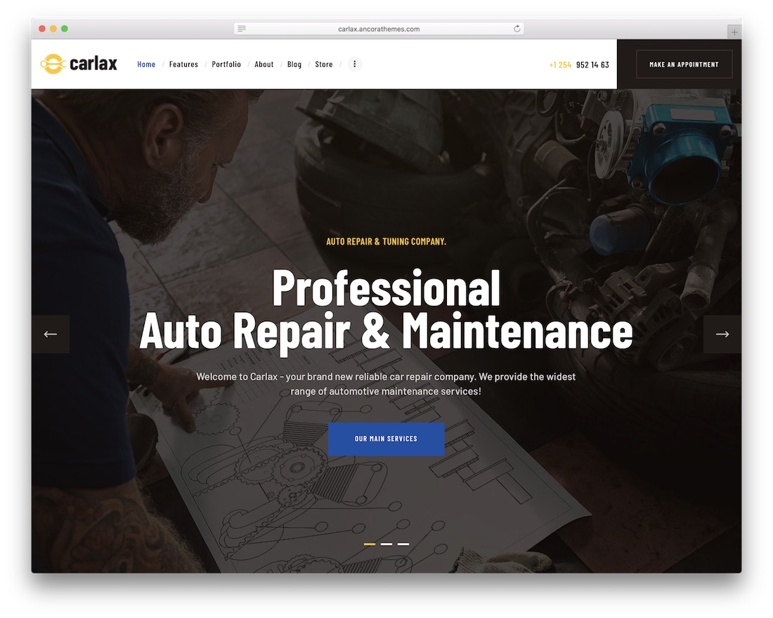 carlax auto service wordpress theme