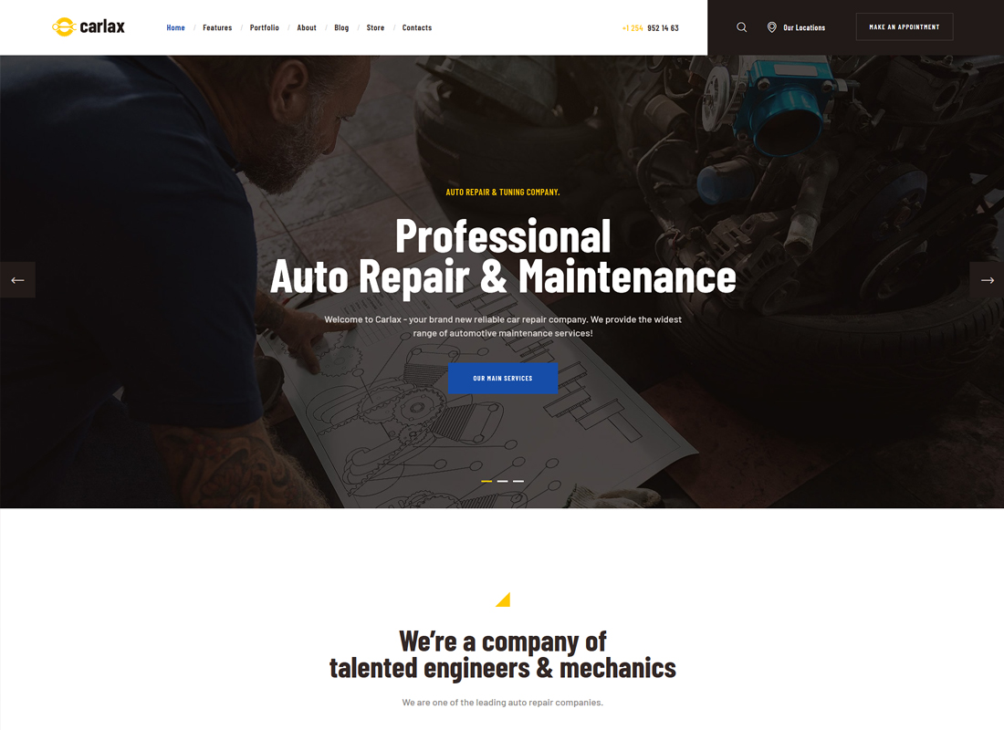 Carlax - Car Parts Store & Auto Service WordPress Theme