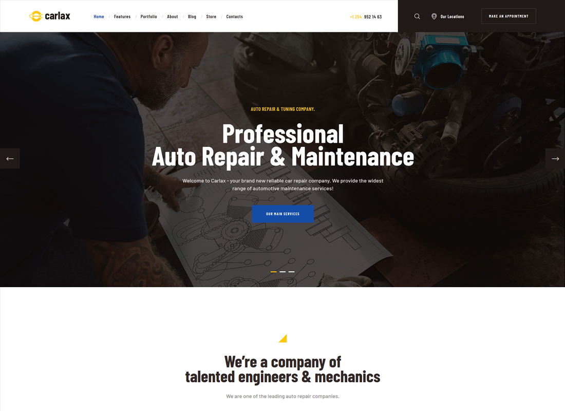 Carlax - Car Parts Store & Auto Service WordPress Theme