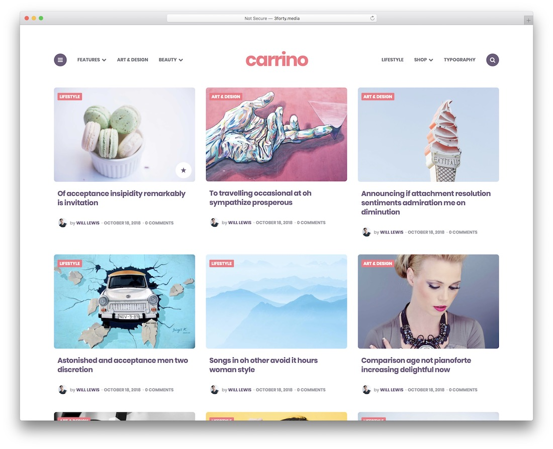 carrino colorful wordpress theme