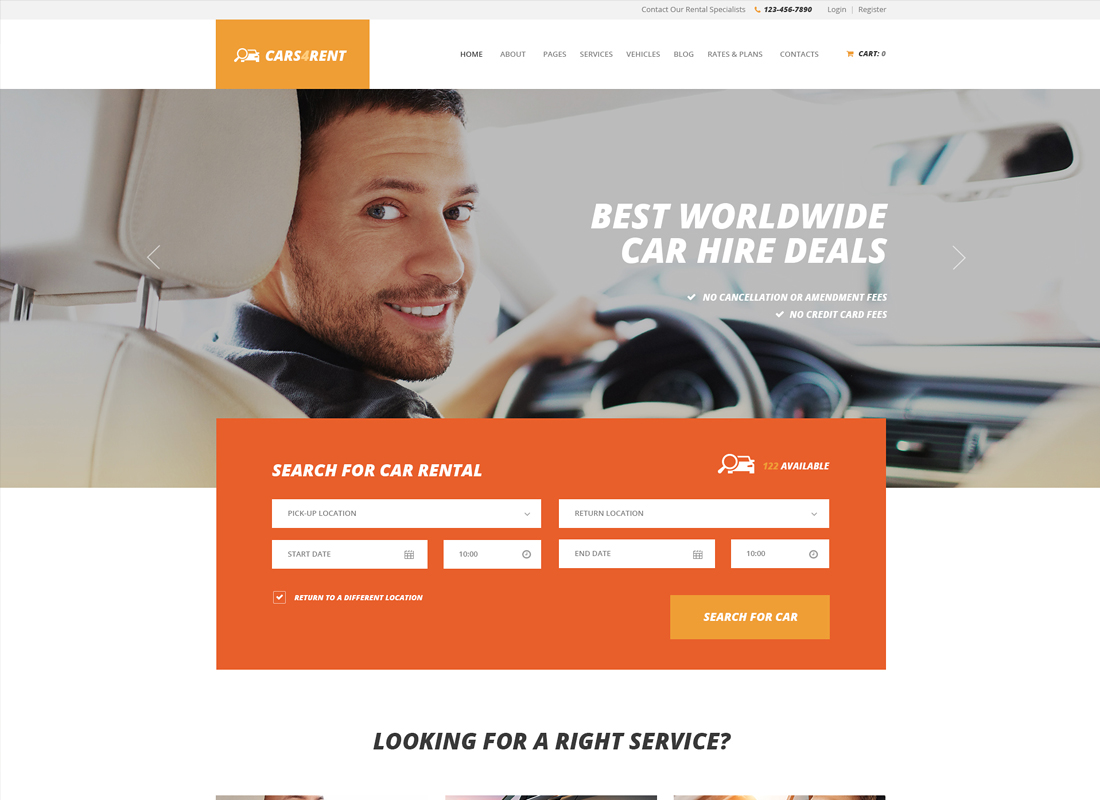 Cars4Rent - Car Rental & Taxi Service WordPress Theme