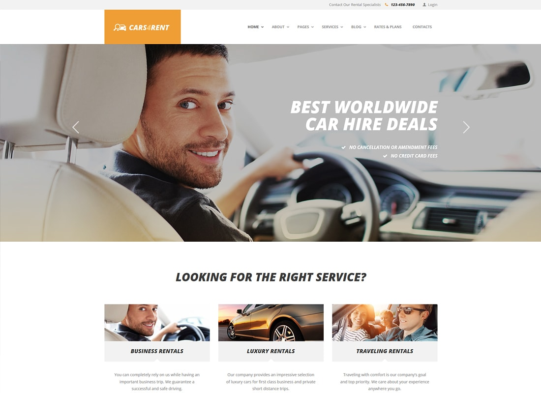 Cars4Rent | Car Rental & Taxi Service WordPress Theme
