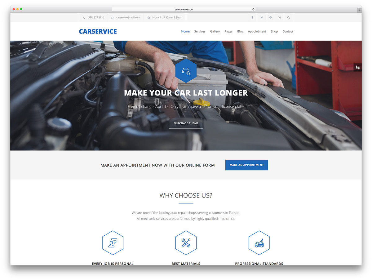 carservice simple wordpress website template