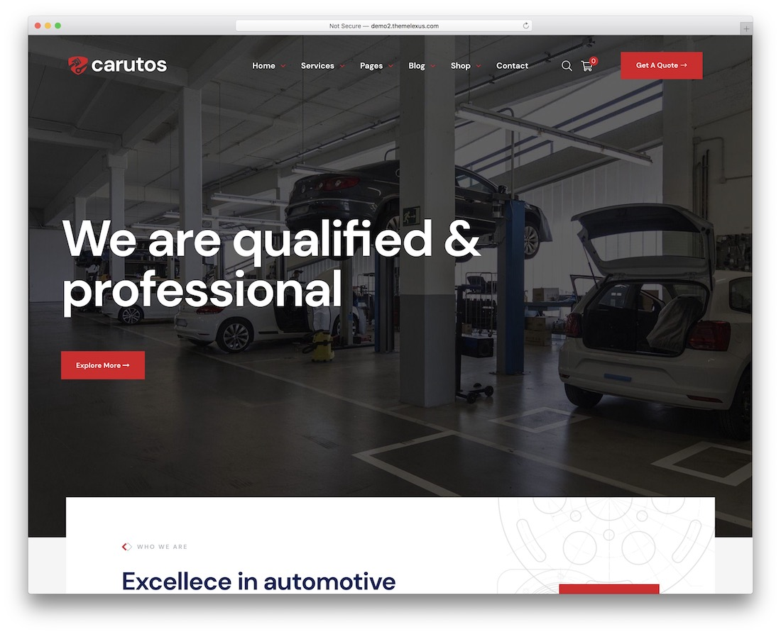 carutos auto service wordpress theme