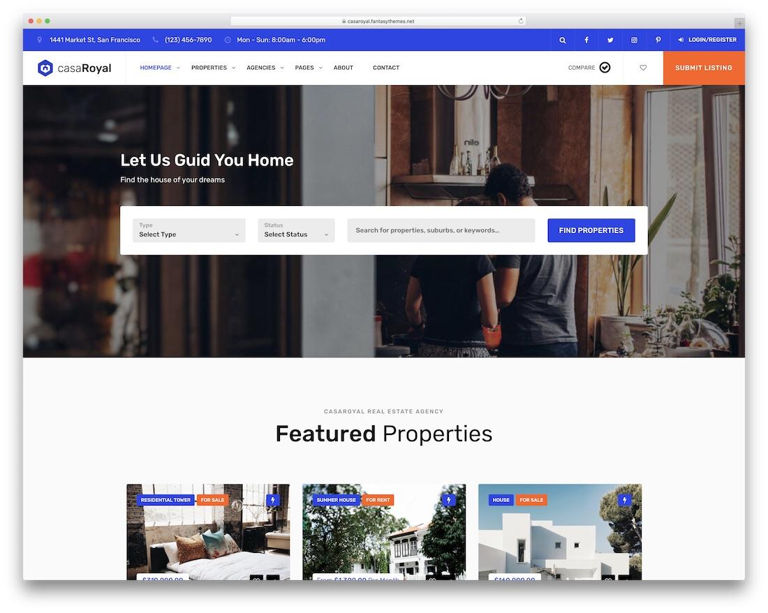 casaroyal real estate wordpress theme