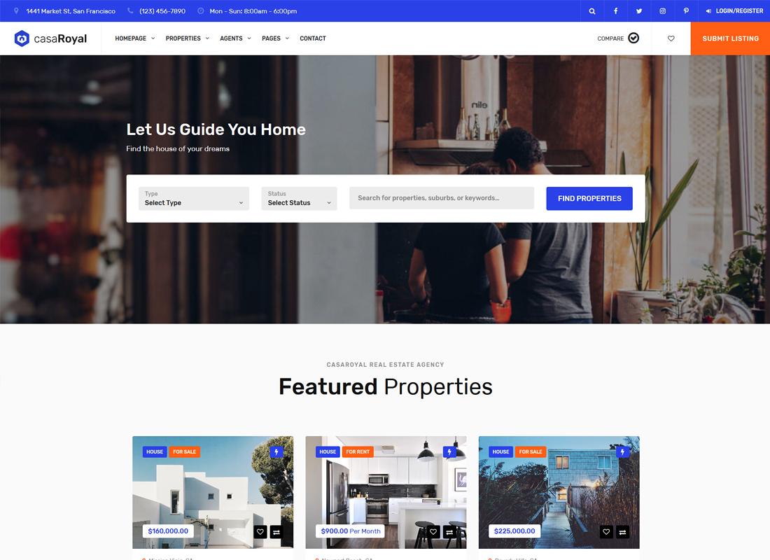 CasaRoyal | Real Estate WordPress Theme