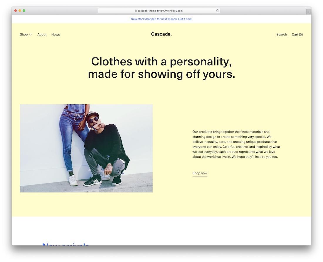 cascade boutique shopify theme