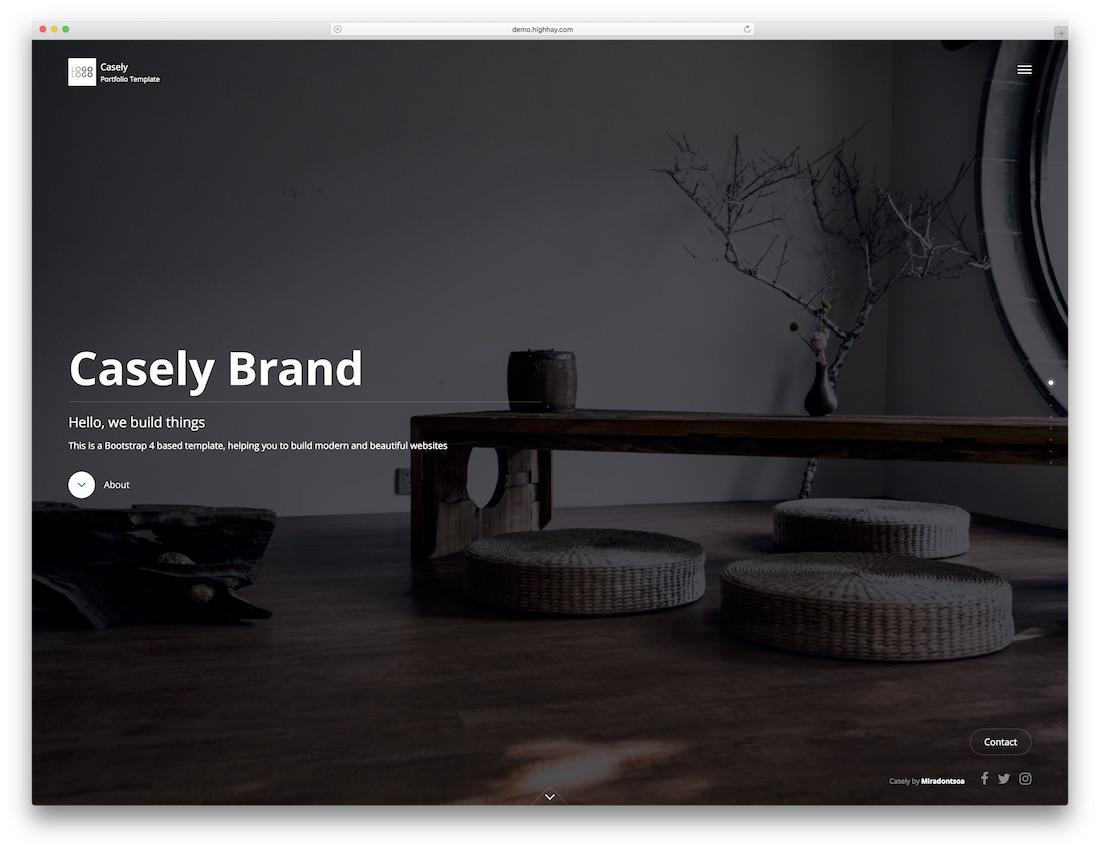 casely fullscreen website template