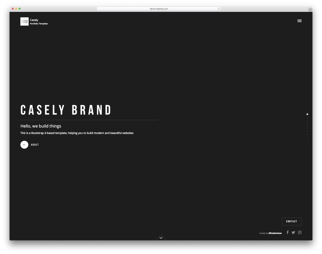 casely portfolio website template