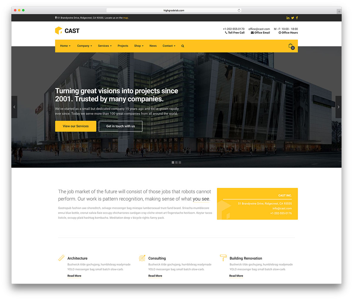 46 best construction company wordpress themes 2018 colorlib cast construction company wordpress website template cheaphphosting Images