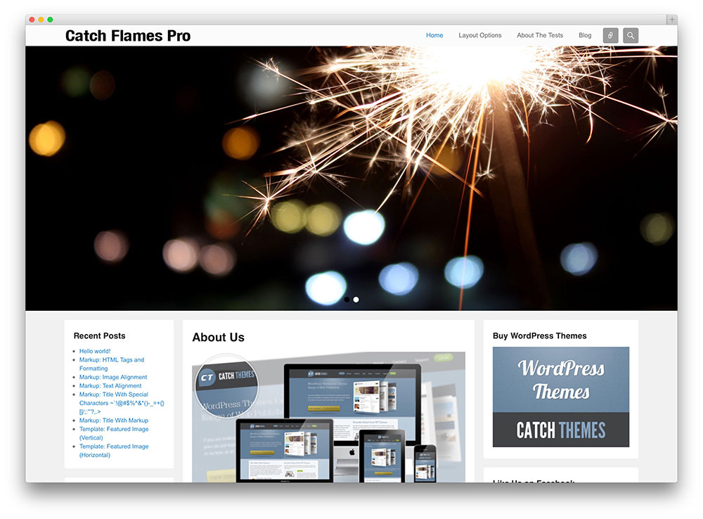 catch flames - free wordpress theme