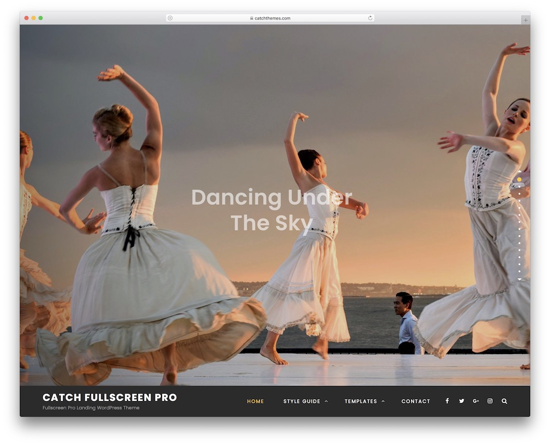 catch fullscreen free one page wordpress theme