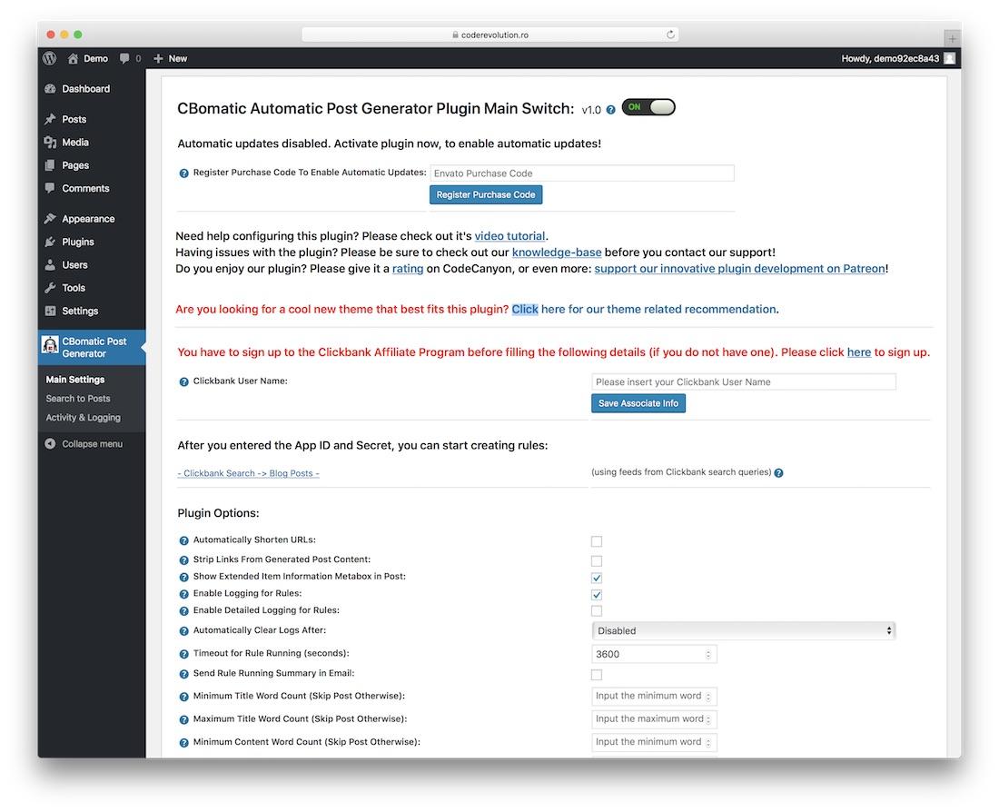 cbomatic clickbank affiliate plugin for wordpress