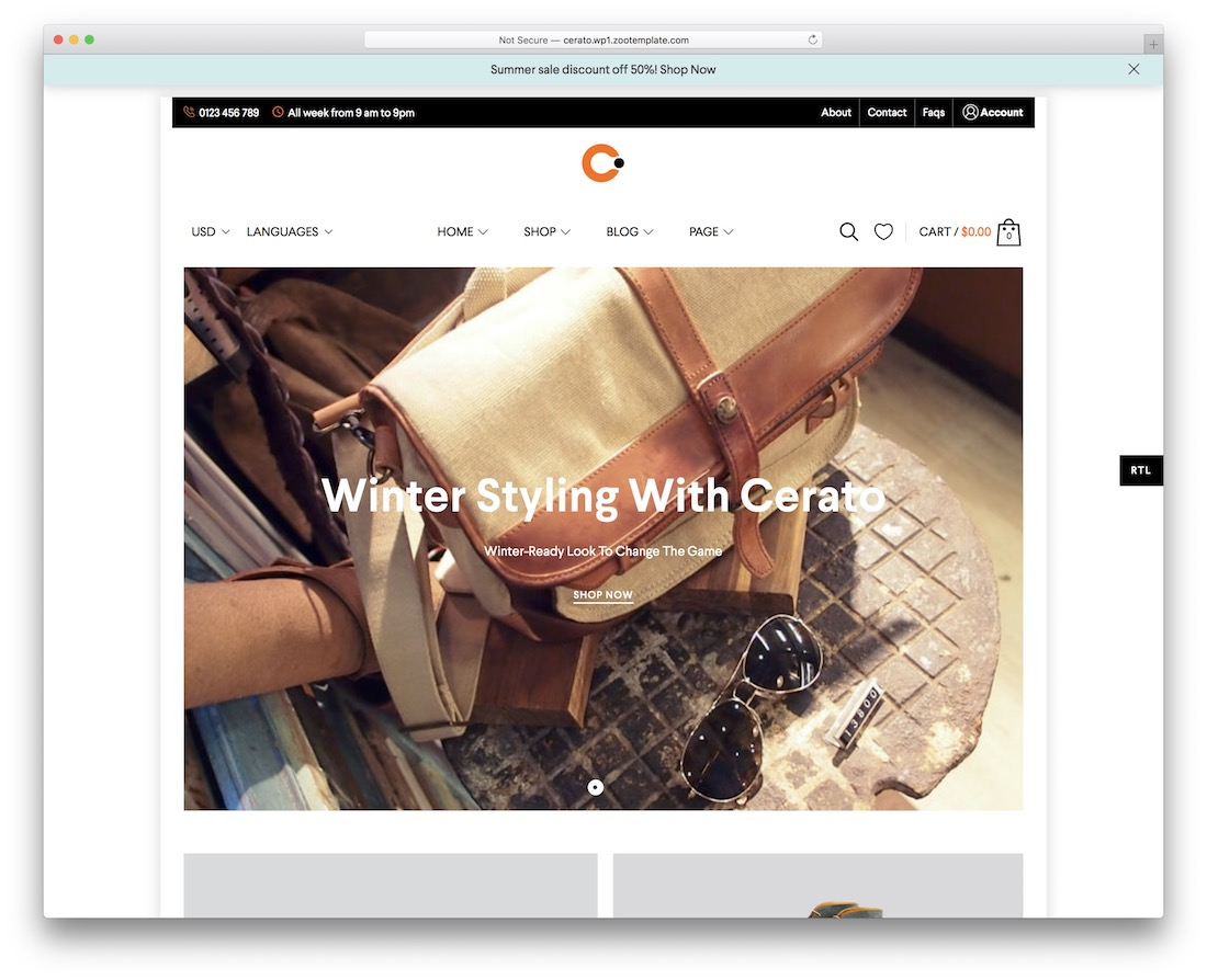cerato mobile-friendly ecommerce theme