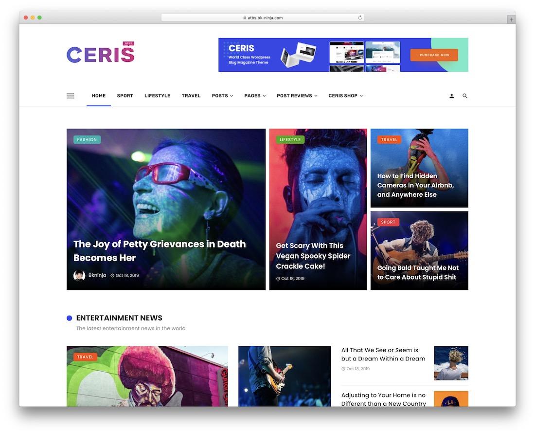 ceris mobile friendly wordpress theme