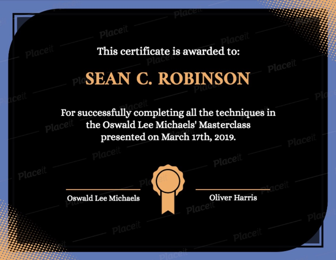 certificate template for completion with an award graphic