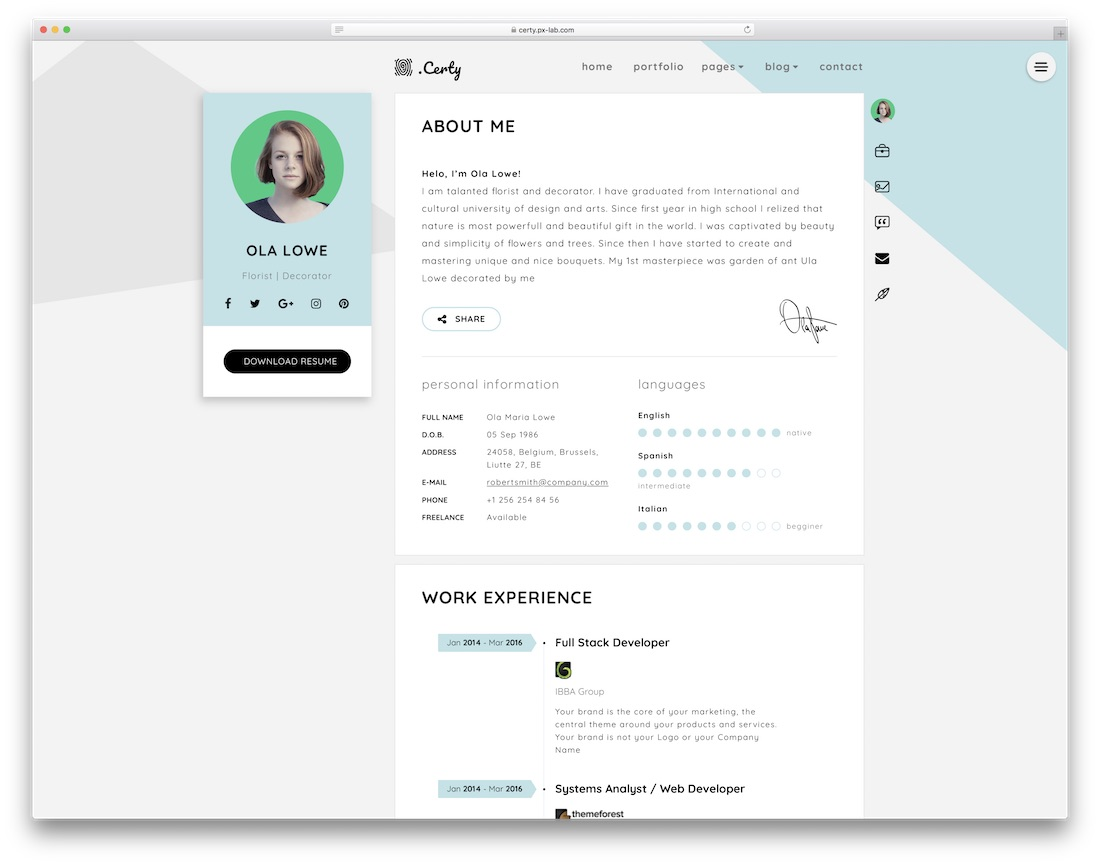 certy HTML resume cv website template