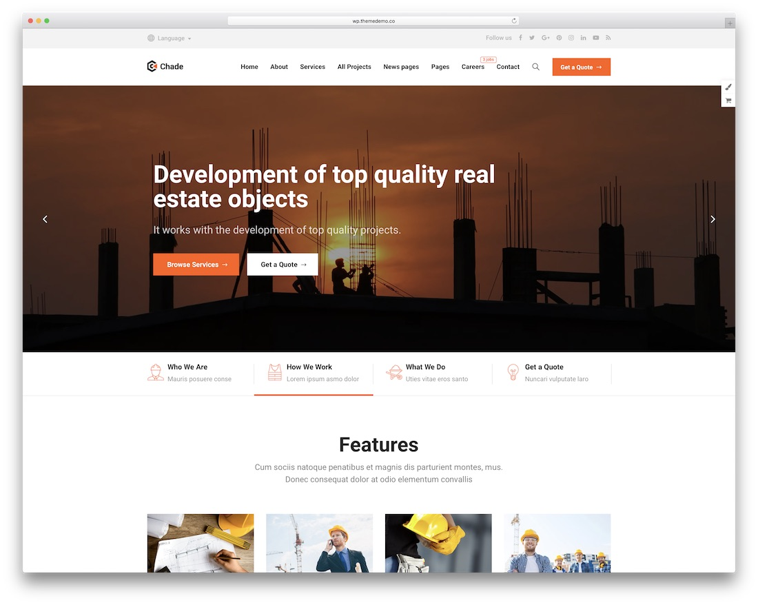 chade construction company wordpress theme