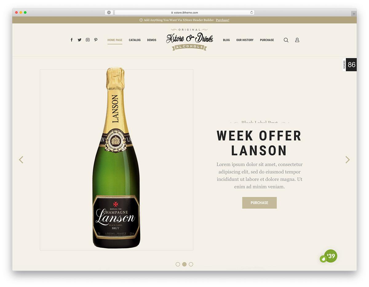 champagne shop WordPress theme