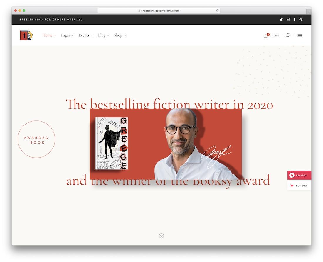 chapterone author wordpress theme