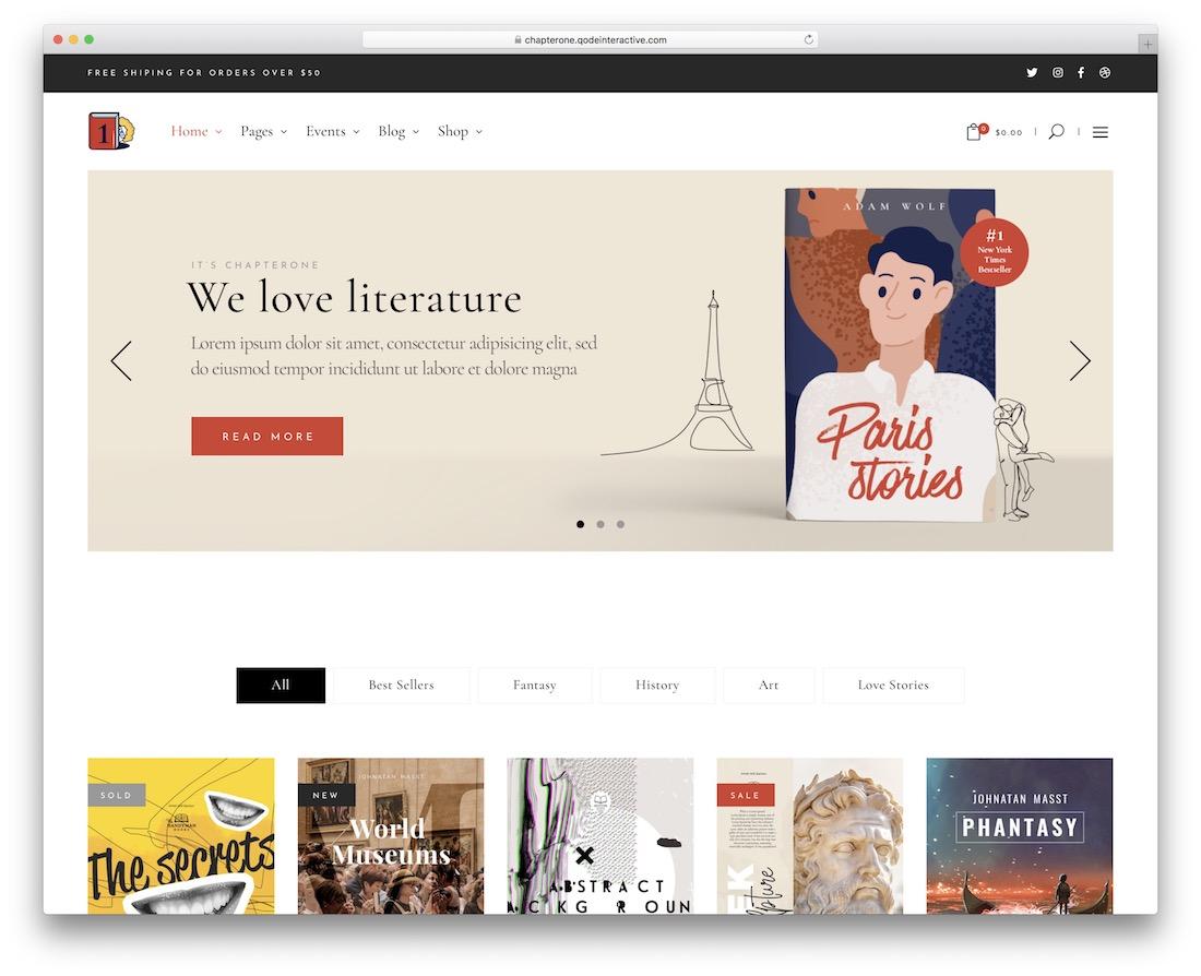 chapterone wordpress bookstore theme