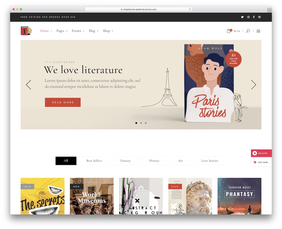 chapterone wordpress theme for bookstores libraries