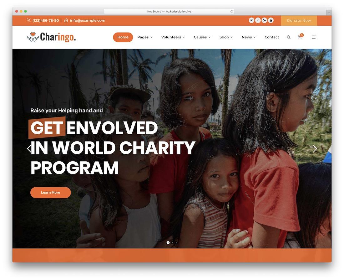 charingo fundraising wordpress theme