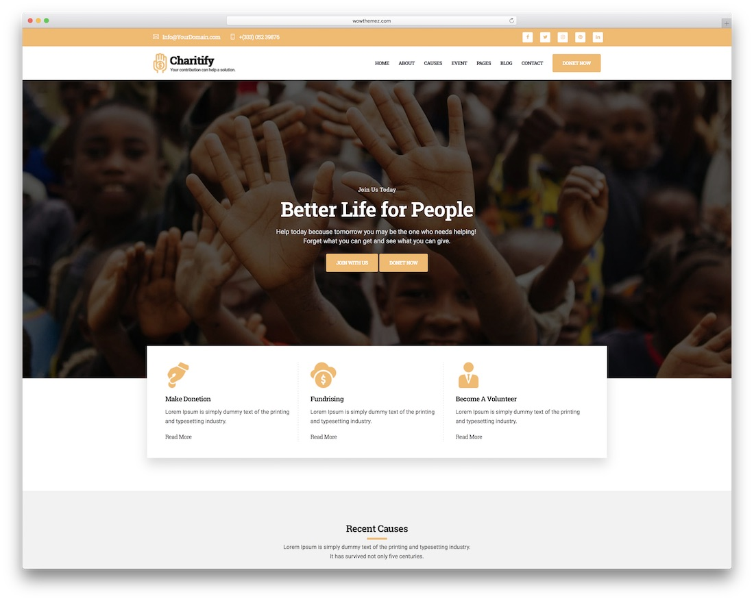 charitify website template