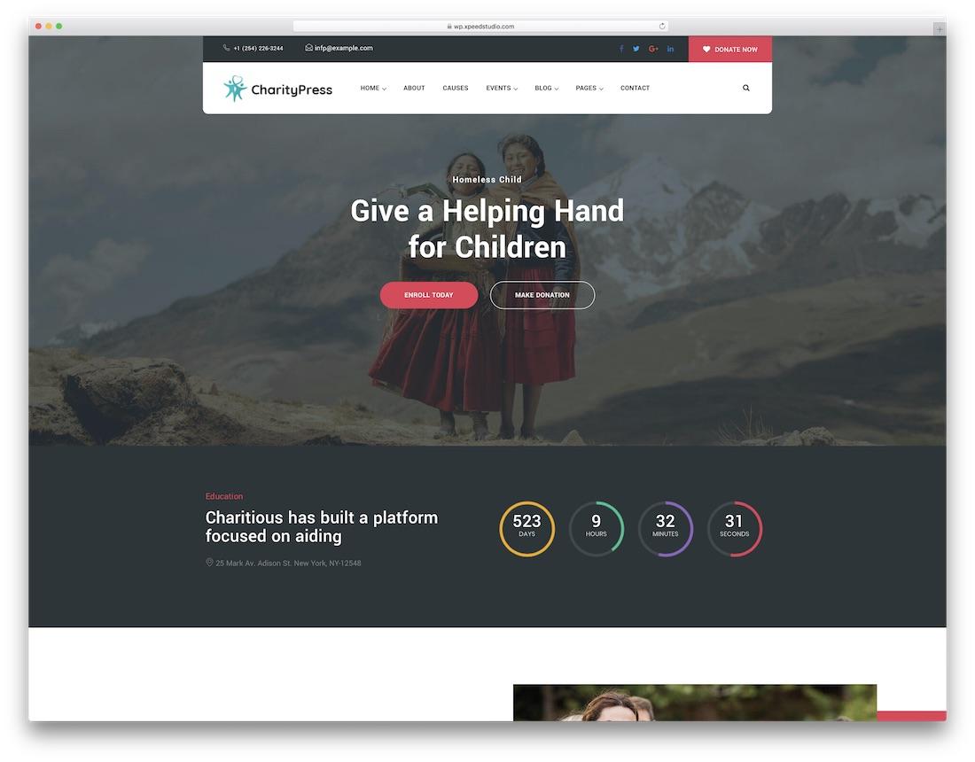 charitious fundraising wordpress theme