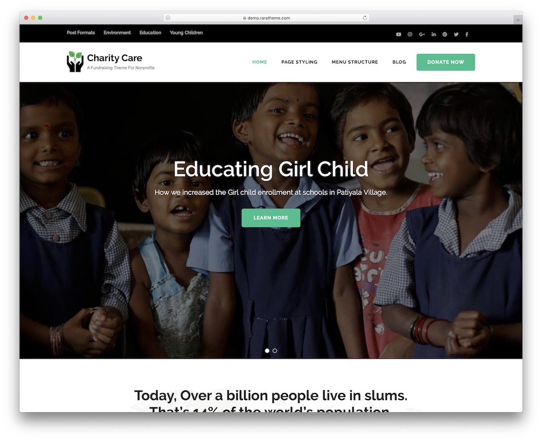 charity care free wordpress theme