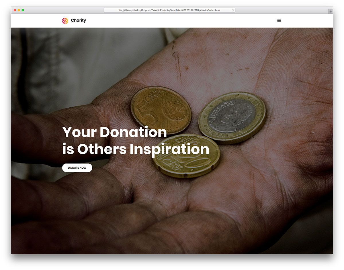charity free mobile-friendly website template