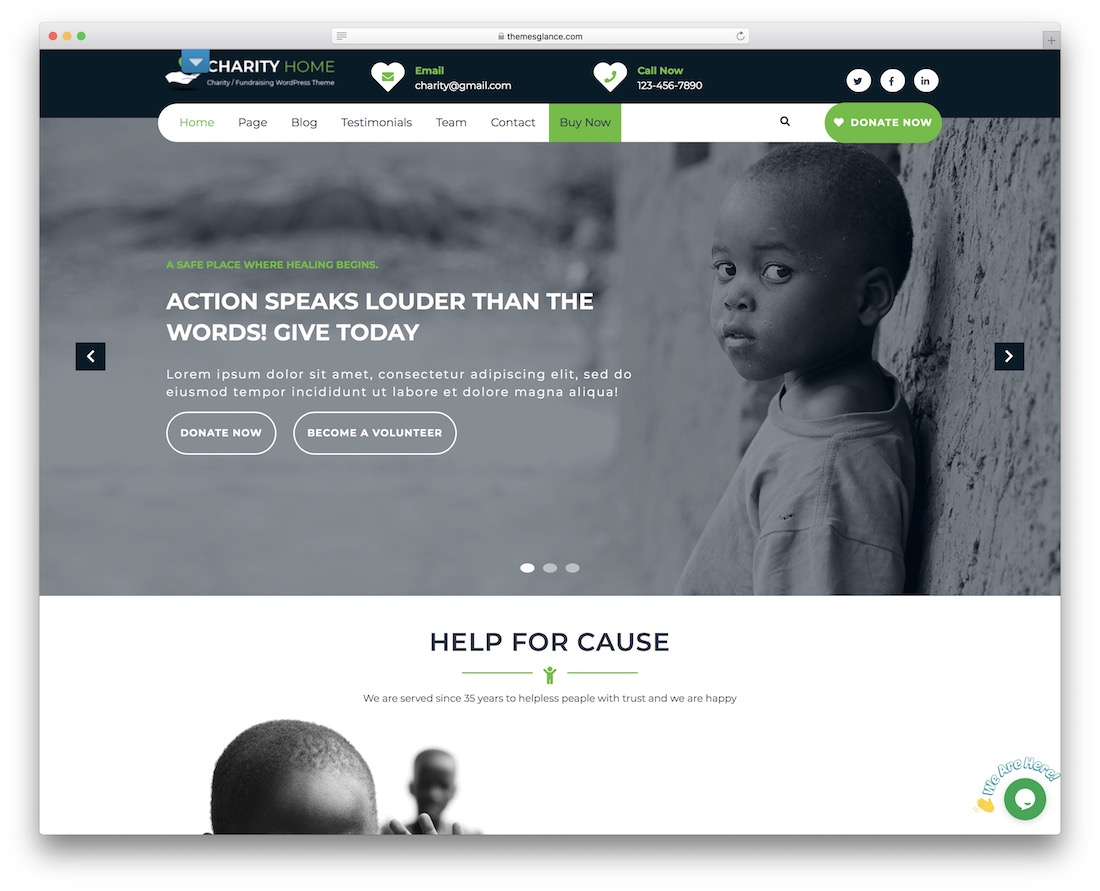 charity fundraiser free wordpress theme