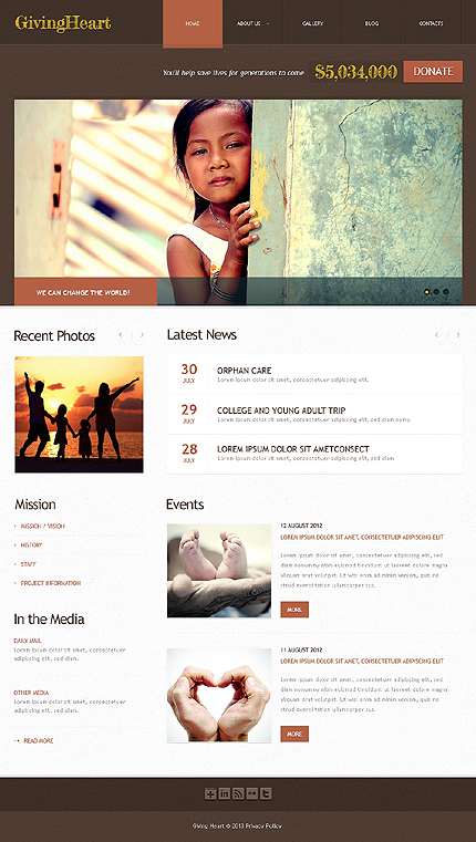 Brown Charity WordPress Theme