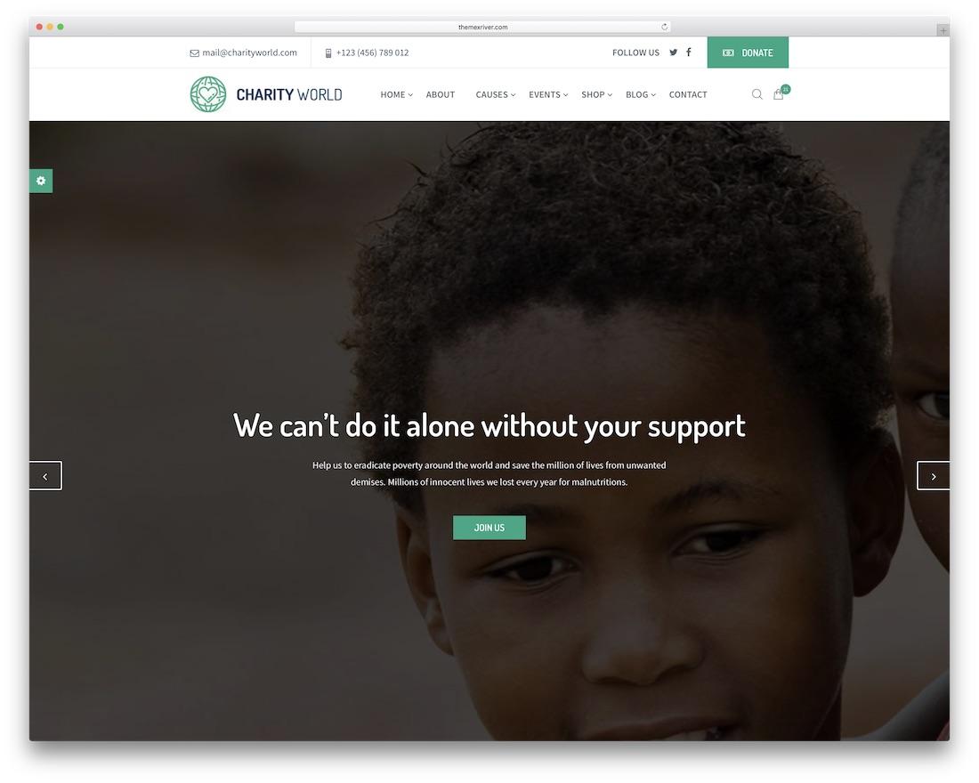 charity world html website template