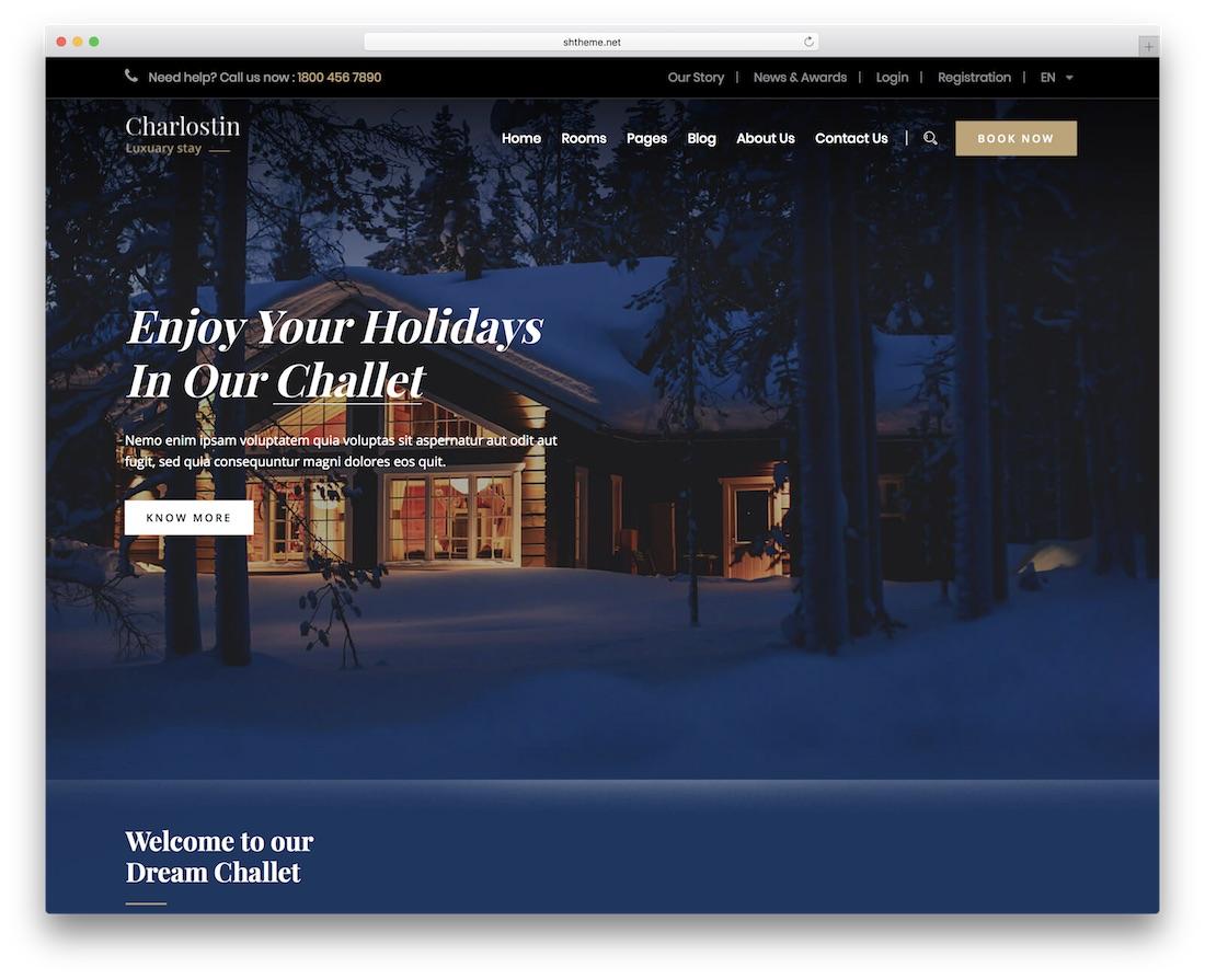 charlostin hotel wordpress theme incredible design
