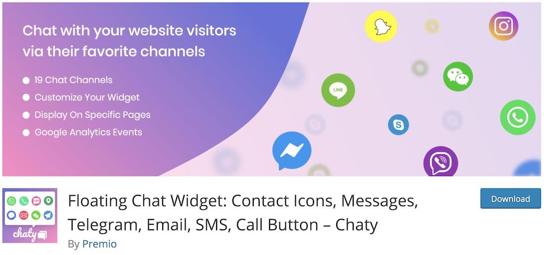 chaty wordpress live chat plugin