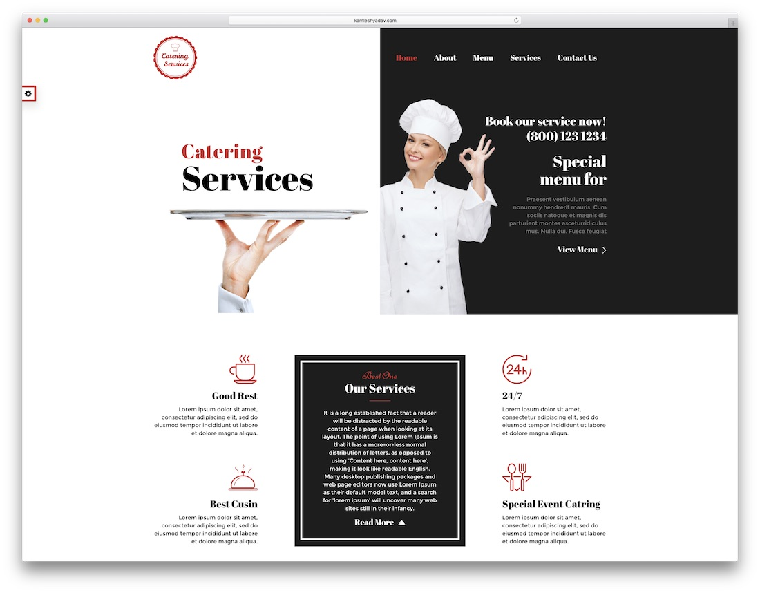 responsive catering website template