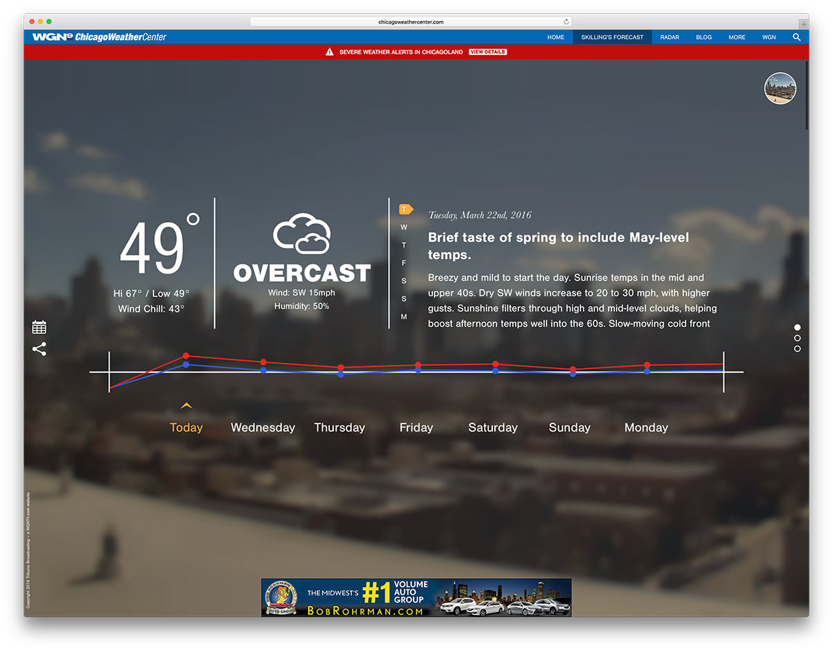 Chicagoweathercenterweathercenterwebsiteexample 30 Interesting Websites  That Use Wordpress As A Cms 2017 Colorlib
