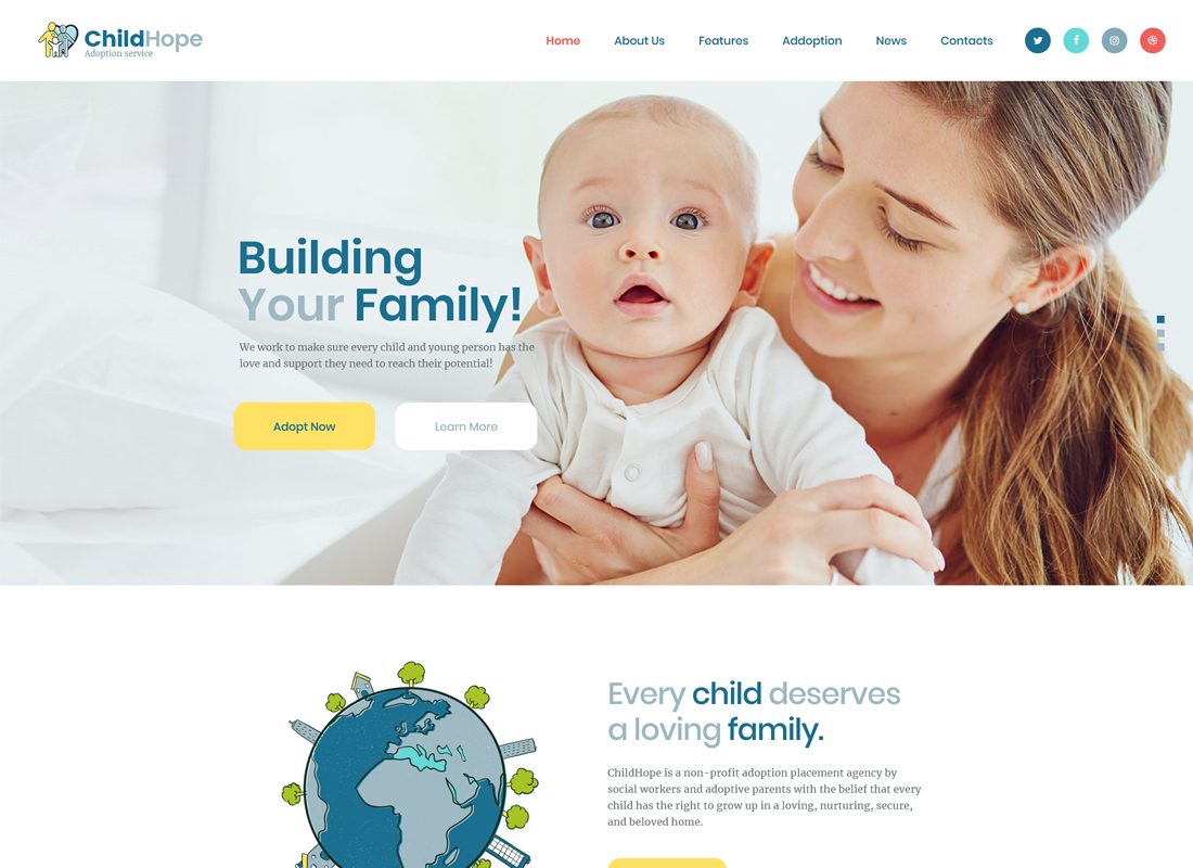 ChildHope | Child Adoption Service & Charity WordPress Theme