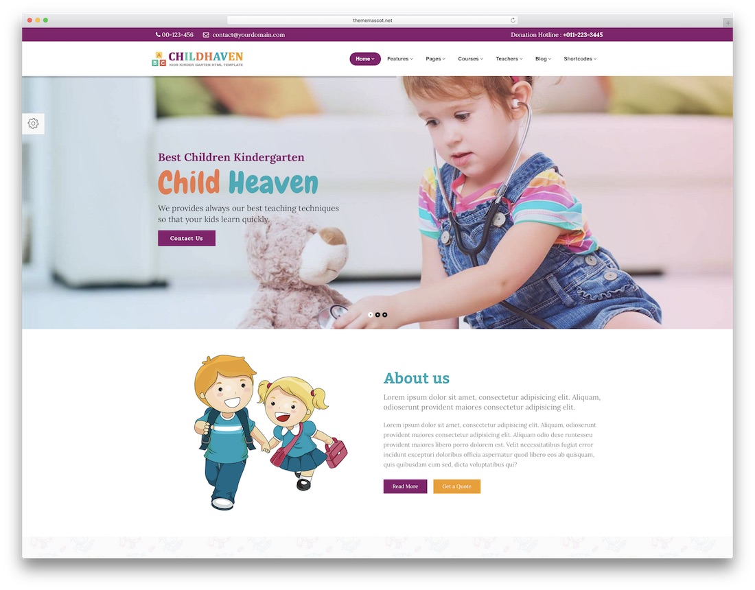 children haven school website template