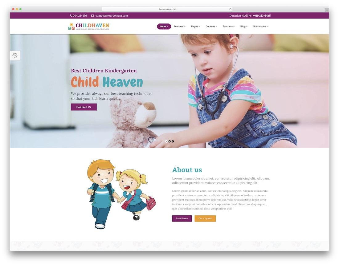 어린이 피난처 학교 웹 사이트 템플릿