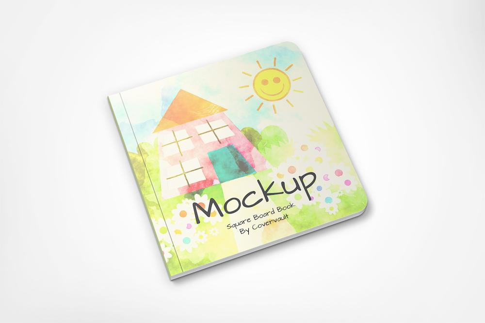 childrens board book psd mockup