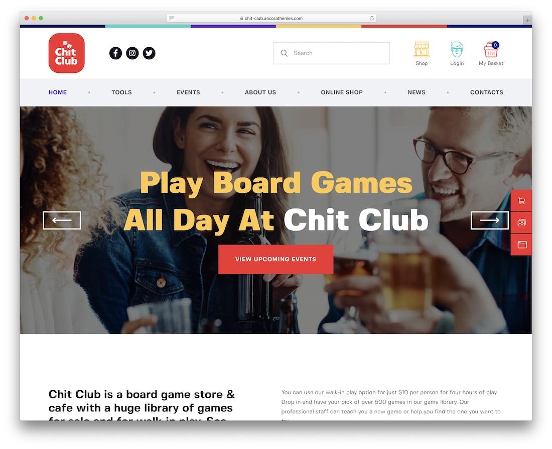 chit club gaming wordpress theme