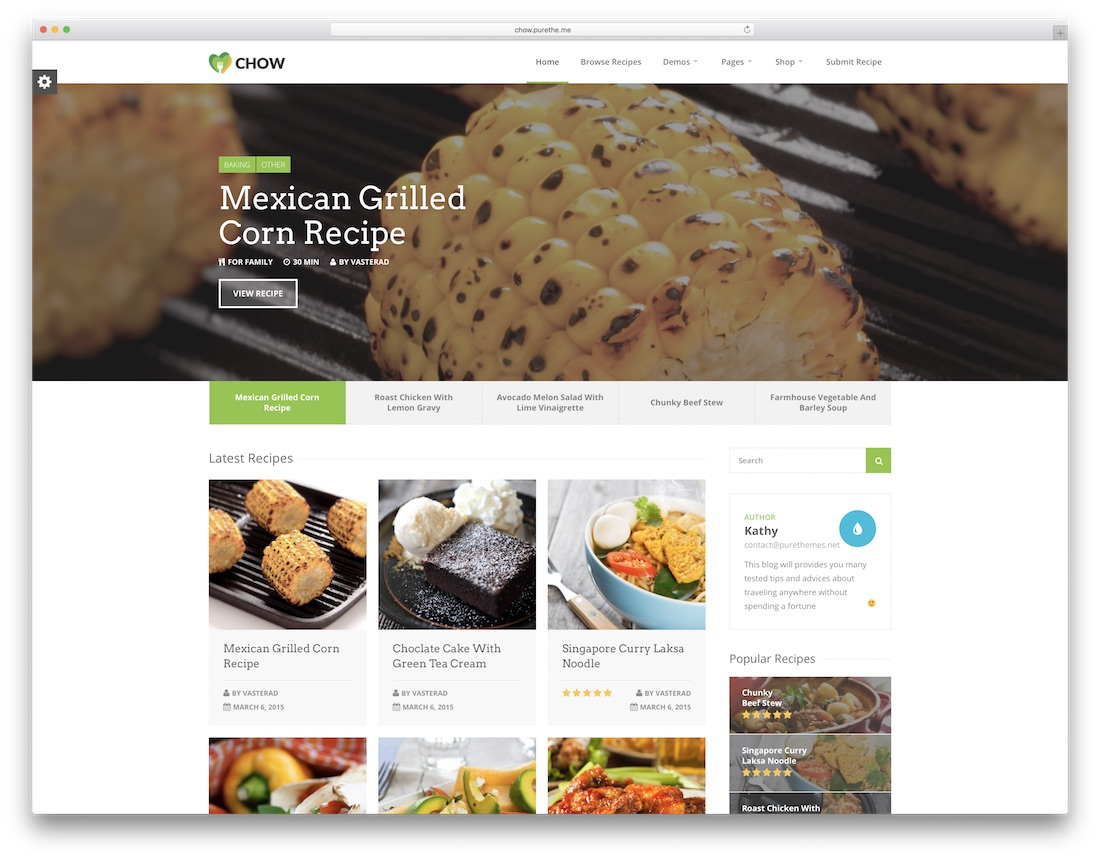 chow food recipes wordpress theme